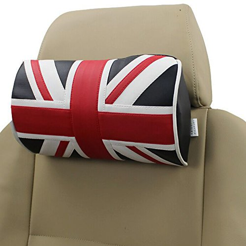 Preisvergleich Produktbild J&L Union Jack Auto Nackenkissen Kopfkissen Auto Sitzbezug Kopf Hals Rest Kissen Kopfstütze PU-Leder Sponge Schwarz