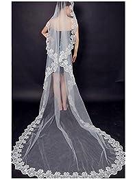 "Kolylong Voile De Mariage 3m Lacework 118 ""Graceful Flower Bord Mantilla Wedding Party Dress Veil"