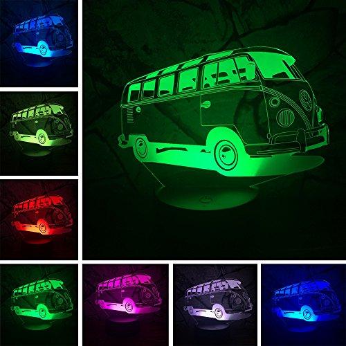 3D Lamparas Kindermädchen Auto Bus 7 Farbwechsel Farbverlauf RGB Nachtlicht Illusion Schlafzimmer Nacht Dekoration Kinder Kinder Weihnachten Spielzeug Geschenke (Mexikanische Lichter Weihnachten)