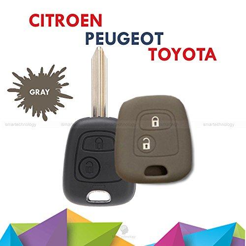 Coque coloré en silicone souple pour clé à 2 boutons pour voiture Toyota Aygo, en 10 couleurs gris