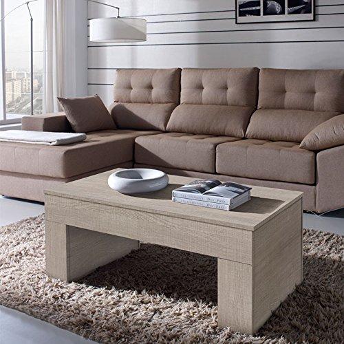 Tousmesmeubles Table Basse chêne Clair relevable - Moly - L 110 x l 60 x H 44/58 - Neuf