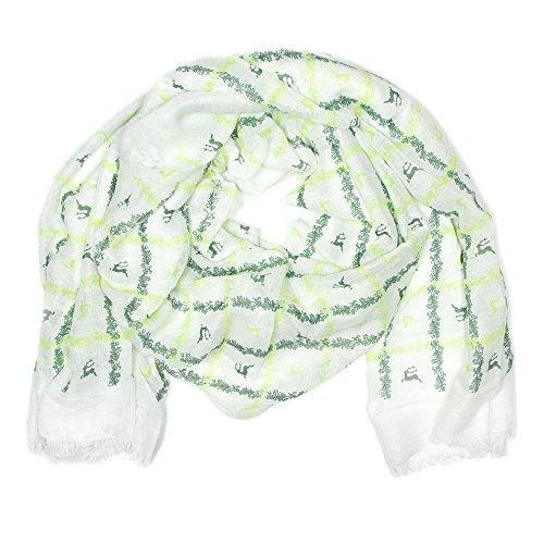 Enzianblau Trachten: Schal mit Hirschen und Trachtenornamenten, Trachtenschal für Damen und Herren, Oktoberfest Schal, versch. Farben (weiß-grün)