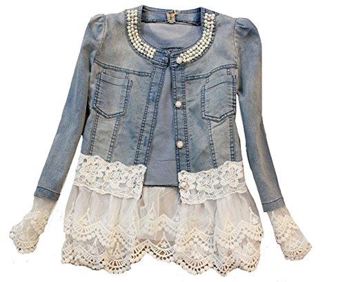 SMITHROAD Damen Denim Cotton Cute Short Jacke Denim mit Spitze Jeansjacke,Asien L/EU 36-38