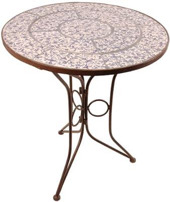 Esschert AC91 Design Tisch mit Keramik Oberfläche, 60 x 60 x 70 cm, blau / weiß