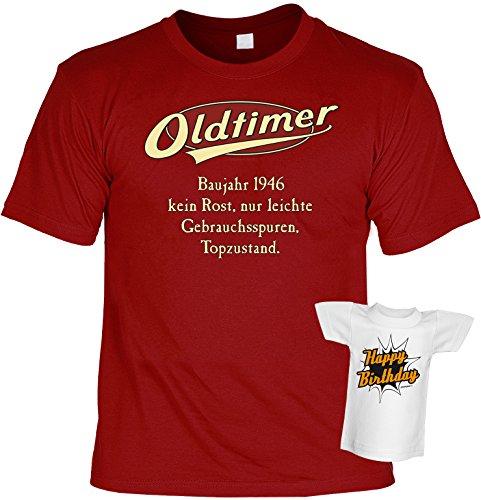 T-Shirt zum Geburtstag - Oldtimer Baujahr 1946 - Im Set mit einem gratis Minishirt! Funshirt, Farbe dunkelrot Dunkelrot