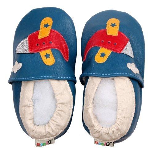 FREE FISHER Chaussures souples bebe chaud chaussons en cuir doux enfant unisex - flugzeug