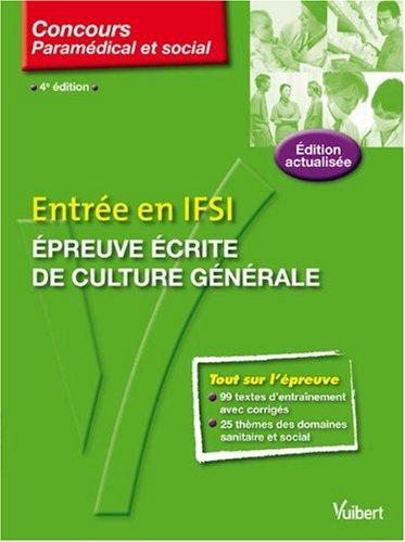 Entrée en IFSI : Epreuve écrite de culture générale