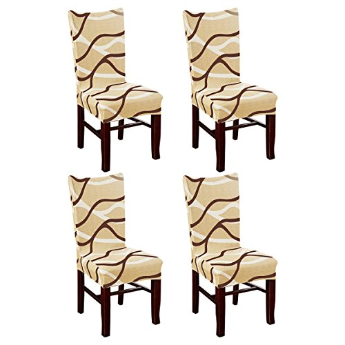 KING DO WAY Set of 4 Chair Cover for Dining Room Wedding Banquet Stretch Spandex Party Decor D