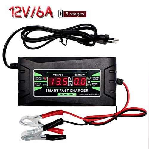 Etrogo Carica Batteria Mantenitore, 12V 6A Multi Proictezioni Caricatore Intelligente Automato Caricabatterie con Schermo LCD Manutentore per Auto, Moto, ATV, Barca,Cam