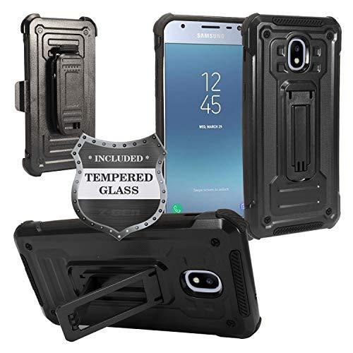 A/v-ständer Glas (Für Samsung Galaxy J3(2018), J3erreichen, J3Star, Sol 3, Express Prime 3, Amp Prime 3, J3V J3V 3. Gen. J337 Fall w/Ständer/Gürtelclip + gehärtetem Glas Displayschutzfolie, ST3 Black)