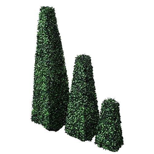 vidaXL Buchsbaum Pyramide 3er Set Deko Kunstpflanze Künstlicher Buxus Kunstbaum