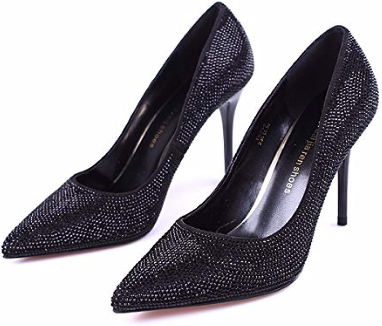 GTVERNH Zapatos de mujer/Verano/Diamante 9 Cm tacón alto zapatos de boca de punta fina tacón único zapatos de... -