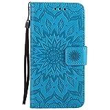 DENDICO Galaxy Grand Prime Hülle, Premium Leder Wallet Tasche Etui Sonnenblume Prägung Hülle mit Magnetverschluss, Flip Brieftasche Handy Schutzhülle für Samsung Galaxy Grand Prime - Blau
