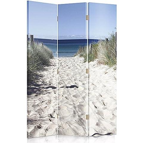 Feeby Frames Biombo impreso sobre lona, tabique decorativo para habitaciones, a una cara, de 3 piezas (110x180 cm), PLAYA, MAR, BLANCO, AZUL