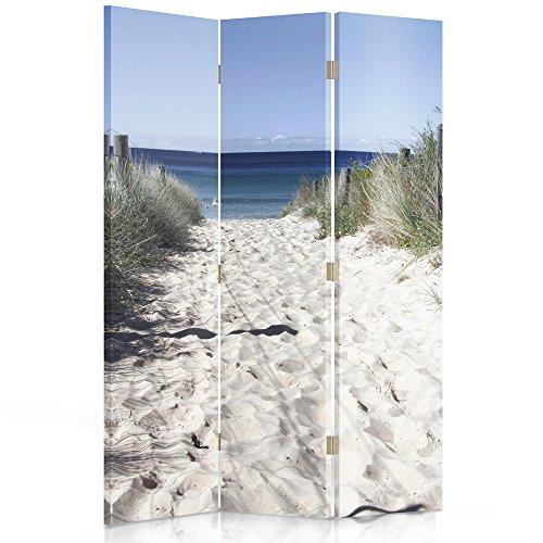 Dekorative Paravents (Feeby Frames. Die gedruckten auf Canvas Leinwand Wandschirme, dekorative Trennwand, Paravent einseitig, 3 teilig (110x150 cm), Strand, Meer, WEIß, BLAU)