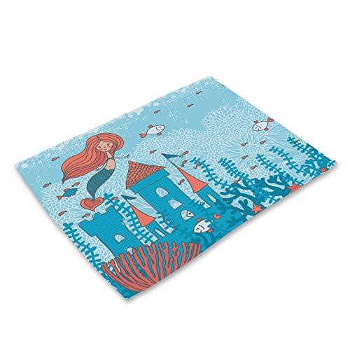 Zchpdd tovaglietta da cucina in cotone dipinto con stampa artistica occidentale per bambini cartone animato serie vita marina tovaglietta 6 stili f 42 * 32 cm * 4 pezzi
