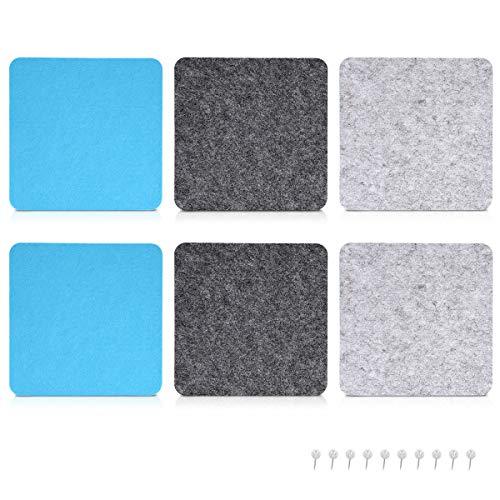 Navaris Filz Memoboards Set quadratisch - 9x Filz Pinnwand 17,7x17,7cm mit Stecknadeln und Klebeband - Filzboard für Küche und Büro - Grau Blau