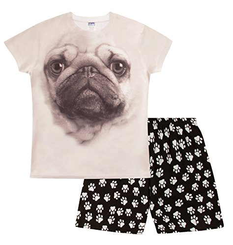 ThePyjamaFactory Super Cool Pug 3D Short Pyjamas Paw Print PJ 9-14 Years