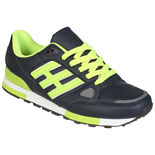 NEW LADIES RUNNING TRAINERS WOMENS WALKING SHOES GIRLS SPORTS FITNESS LACE UP GYM SHOE (UK 6 , Navy / Green)