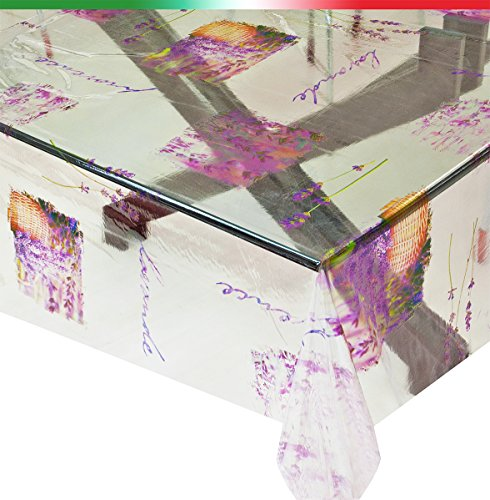 Tovaglia trasparente vendita al metro altezza 140cm antimacchia lavanda mod.kristal94
