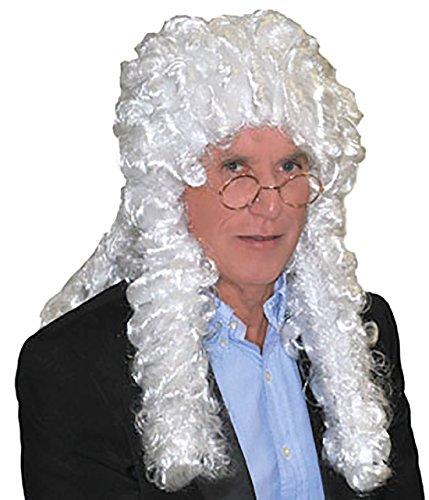 Perücke Kostüm Richter - erdbeer-clown - Kostüm Accessoire Police- Mottoparty Richter Perücke, Erwachsenen Kopfbedeckung, Weiß
