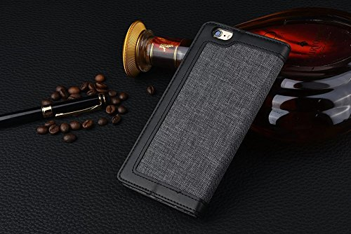 iPhone Case Cover Leinen-Leder eingewickeltes Muster gemischte Farben-PU-lederner Mappen-Kasten mit Bargeld-Karten-Schlitz-Standplatz-Fall für IPhone 7 ( Color : Red , Size : IPhone 7 ) Black