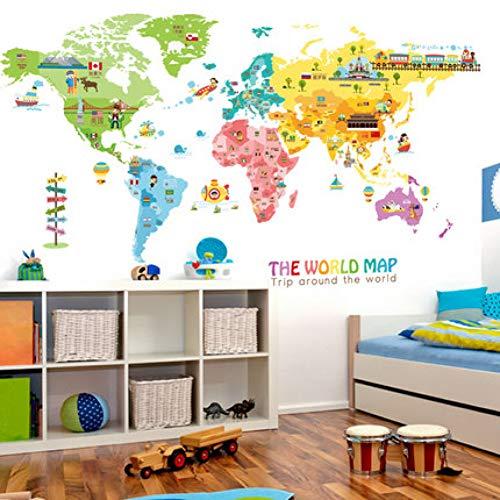 Karte Dekoration Vinyl Wandaufkleber DIY Weltkarte Kinderzimmer Poster ()