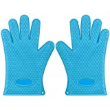 Italish 1 Pair Heat Resistant Silicone Gloves, Food Grade Heat Insulated Oven Mitts For Kitchen Cooking Baking Grilling Frying BBQ - Multi Color