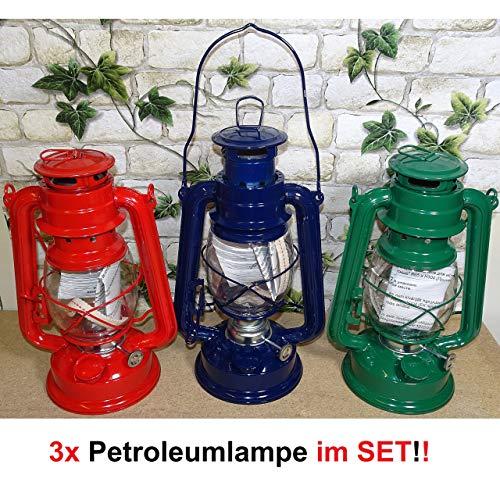Beast 3er Set Petroleumlampen rot-blau-grün Öllampen Sturm Camping Lampe Leuchte Stall-Laterne