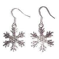 Juicy Jewellery Sterling Silver Frozen Snowflake Christmas Novelty Earrings & Gift Bag