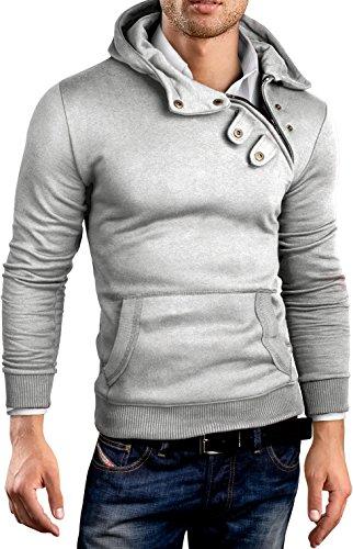 Grin&Bear Herren Kapuzenpullover mit Zipper GEC404 grau meliert Gr. M (Hoodie Fleece Bear)