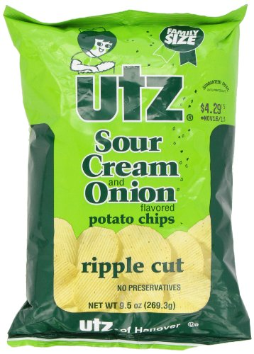 UTZ Sour Potato Chips, Cream and Onion Ripple Cut, 10 Ounce by UTZ