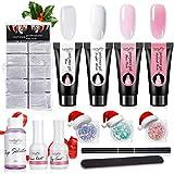 Kit di gel per unghie Luckyfine Poly, Kit 4pc Poly Estensione Unghie Gel Vestito per estensione unghie di avviamento, nail art fai-da-te