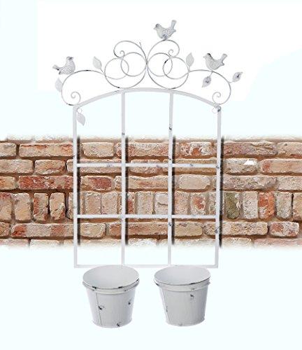 Etagère mural Support en Métal - Support de Fleurs Mural - Jardinière Murale Shabby Chic et Romantique - Oiseaux - 51x78 - Blanc antique - Métal