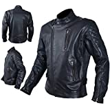A-Pro Jacket Leather Mens Motorcycle Vintage CE Protectors Armour CE XL