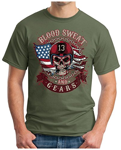 OM3 - BLOOD-SWEAT-AND-GEARS - T-Shirt MOTORCYCLE HIPSTER SKULL CLUB Oliv