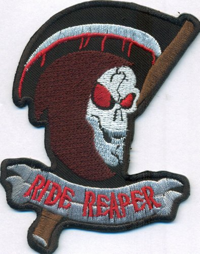 RIDE REAPER Sensenmann Skull Death`s Head Totenkopf Biker Aufnäher Patch (Death Head Patch)