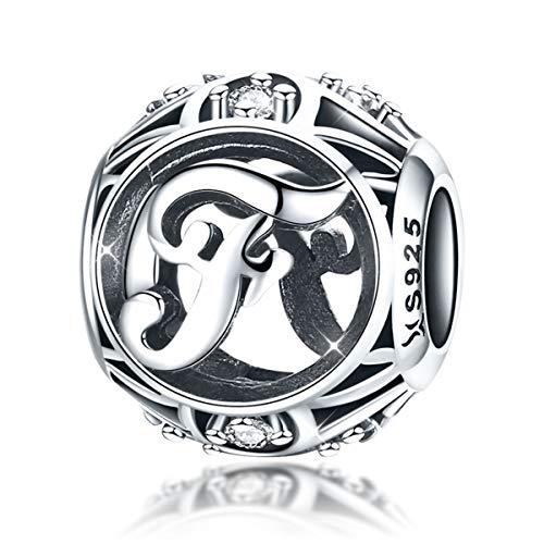 Alphabet charms letters initial f ciondola clear birthstone compatibile con bracciali charms pandora chamilia