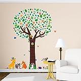 Decowall DML-1312 Großer Baum mit Waldtiere Tiere Wandtattoo Wandsticker Wandaufkleber Wanddeko für Wohnzimmer Schlafzimmer Kinderzimmer