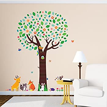 Decowall DML 1312 Large Tree With Animal Friends Kids Wall Stickers Wall  Decals Peel And Part 96