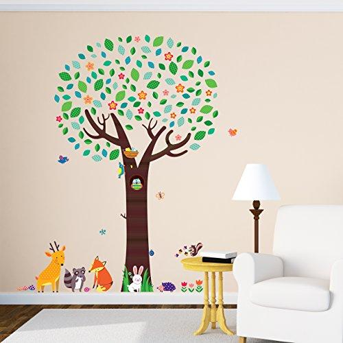 Decowall-DML-1312-rbol-Grande-con-Amigos-Animales-Vinilo-Pegatinas-Decorativas-Adhesiva-Pared-Dormitorio-Saln-Guardera-Habitacin-Infantiles-Nios-Bebs