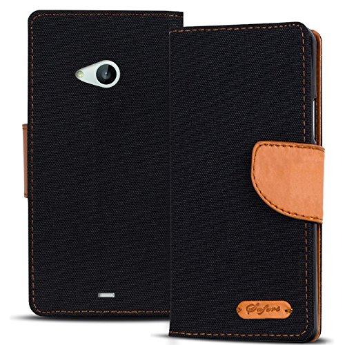 Verco Lumia 535 Hülle, Schutzhülle für Microsoft Lumia 535 Tasche Denim Textil Book Case Flip Case - Klapphülle Schwarz