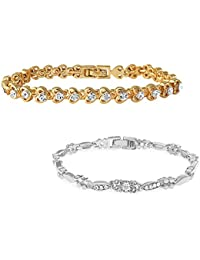 Mahi Gold & Rhodium Plated Combo Of Two Bracelet With Crystals For Women CO1104591M