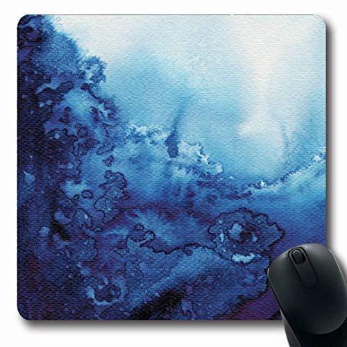Luancrop Mousepads Wellen-Marine-Aquarell-abstraktes blaues Aquarell-Fluss-Muster naß auf Wasser-Spritzen-Farben-Farbe rutschfeste Spiel-Mausunterlage Gummi-längliche Matte -