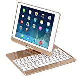 Imported & new iPad Pro 360 degree rotation Wireless Bluetooth Keyboard Case Gold color Cover