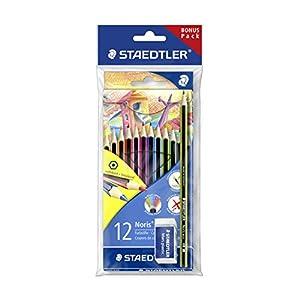 Staedtler Noris 185 SET1 – Lápices de colores ecológicos, caja con 12 lápices y una goma de borrar