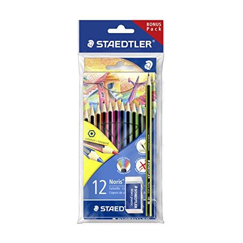 Staedtler 185 SET1 - Noris colour Farbstift Promotion Set, 12 Farben plus eco Bleistift und Mars plastic Radierer Gratis