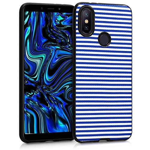 kwmobile Funda para Xiaomi Mi 6X / Mi A2 - Carcasa de TPU para móvil y diseño Lineas horizontales en Azul/Blanco