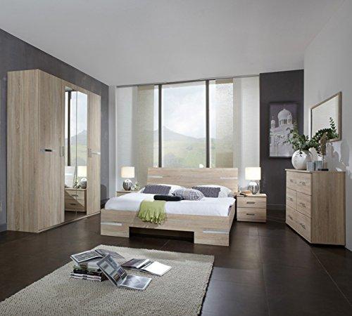 PEGANE Chambre Adulte Imitation chêne en Panneaux de Particules - Dim : 140 X 200 cm