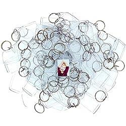 100 Llaveros con Marco para Fotos Acrílico Transparente por Kurtzy - Llavero en Blanco de 5,4cm x 3,2cm - Llavero Apto para Billetera para Insertar Fotos Personalizadas - Apto para Hombres y Mujeres